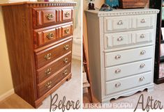 Painting Furniture tutorial:  Before & After Painted Chest of Drawers