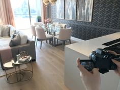 Filming the stunning show apartment at Queen's Wharf. It was a pleasure to capture the spectacular views of the Thames and Hammersmith Bridge, as well as the exceptional interior design by Rachel Winham.