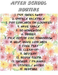FREE DOWNLOAD for After School Routine on Arianne's Joy! www.ariannesjoy.com/autumn-joy-2