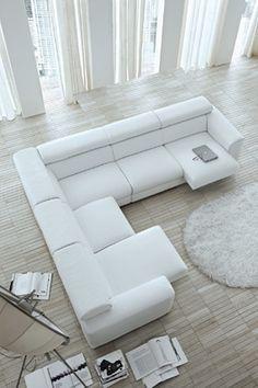 Blues az elegáns, letisztult formavilága mellett kimagaslik a speciális állítható ülésével. White Sectional Sofa, Sofa Design, Modern Sofa Designs, Adams Furniture, White Leather Sofas, Sofa Set Designs, Modern Furniture Living Room, Latest Sofa Designs, Sofa Decor