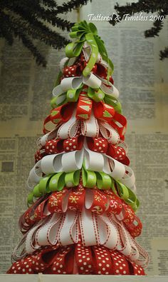 Ribbon tree. Too cute!!!!! Another way to bring cheer to the work place. This would also be a great way to share the Christmas spirit with the elderly who do not put up trees