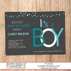 Baby Boy Shower Invitation- Gray, Aqua, Teal- Printable File-5x7- Modern and Simple Design on Etsy, $6.00