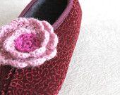 SALE New Product - Women Home Slippers, Velvet slippers, Size 6 1/2, Flower embroidered, crochet floral, Burgundy slippersred flower