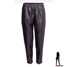 Black Leather Pants 6, 8, 10 Pants in imitation leather by H & M have an elasticized waistband, tapered legs with seams at knees, side pockets and one mock back pocket. Unlined. Polyurethane. Size 6, 8, 10. ASK FOR LISTING IN YOUR SIZE. H&M Pants