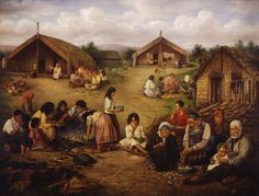 This romantic but appealing version of a life in a traditional Māori village was painted by Gottfried Lindauer. 'The time of kai' shows children eating, helping to prepare food and being cared for by an elder. Maori People, Eat Together, Maori Art, Ciri, New Zealand, Art Gallery, Explore, Places, Artwork