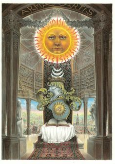 The aim of the hermetic philosophy lies in the uniting of the spiritual with the material. Thus the coat-of-arms of the hermetic art reflects the splendor of the Sun, uniting the planets in the heavens above with the alchemical work in the world of matter below.