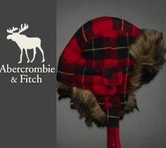 Abercrombie & Fitch Winter Fur Red Plaid Trapper Hat One Size Men Women New $35.00