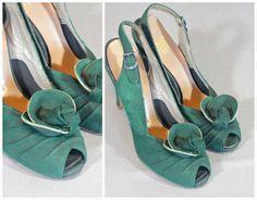 vintage 1940s suede peep toe sling back shoe by TwirlVintageCo, www.twirlvintageco.etsy.com