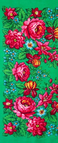square scarf green with pink green and orange by MulberryWhisper #russian #scarf #shawl