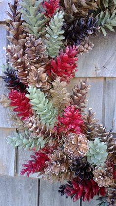 Christmas Wreath Large Rustic Pinecone Wreath red от scarletsmile