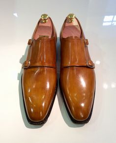 Antonio De Torres double monk featured in caramel patina with exaggerated welt edge. MTO for client. Built on our 101E last.