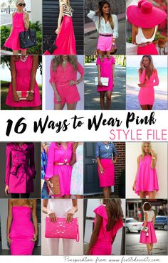Sixteen stylish ways to wear pink-- Women's style file @frostedevents  Hot pink skirts, hot pink dresses, hot pink rompers, hot pink purses, hot pink bags, hot pink hats, hot pink shorts