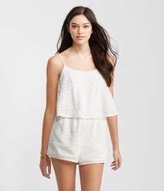 3eba822649de rompers (abercrombie and fitch) · Geo Lace Tiered Romper White Lace Romper