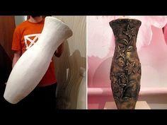 Напольная ваза из картона и шпаклевки