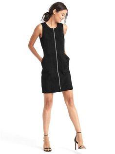 Suede zip shift dress