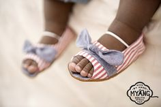 Peep- Toe Shoes - Nautical stripe and denim. Non-slip, suede soles and trendy fabric uppers, the perfect first shoe. Our fabrics and trims are carefully selected, to create a shoe that is unique and truly special.