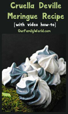 Cruella Deville Meringue Recipe [with video tutorial] | http://www.ourfamilyworld.com/2016/12/16/cruella-deville-meringue-recipe-video/