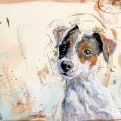 Any-occasion greetings card illustrated with gorgeous painting of a Jack Russell by James Bartholomew- Priced at £1.80
