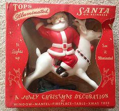Vintage 1950s Hard Plastic Christmas Light Up Santa Clause Reindeer Tree Topper | eBay
