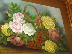 Victorian Pastel Painting Basket Of Roses Gilt Frame Cottage Chic Home Decor