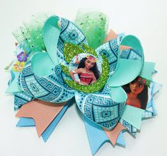 Moana Hair Bow Moana Birthday Girl Bows Moana Birthday hair bow Moana Birthday Moana bow Moana hair bow Moana bows Moana stacked bow Moana ***Thank you for looking*** This Moana Hair Bow is perfect for every little princess, toddler, and girl. Its dressy enough for any events & photos. It even looks great as an everyday accessory. I make all the cutting, sewing, and packaging myself in my smoke free, pet free home. High quality grosgrain ribbon is used in the product. This listing is for...