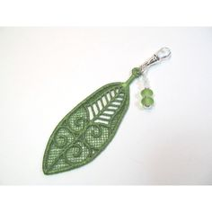 Keychain charm green feather, lampwork crystals ($20) ❤ liked on Polyvore featuring accessories, long key chains and fob key chain