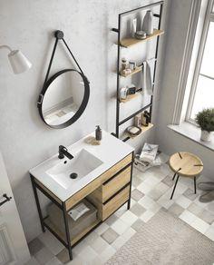 Bathroom furniture - Louvre 85 cm cabinet steel made Bad Inspiration, Bathroom Inspiration, Home Design Plans, Home Office Design, Tiny House Bathroom, Small Bathroom, Metal Furniture, Bathroom Furniture, Ikea Hack Bathroom