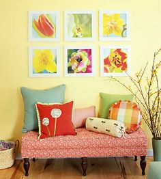 Simple Flower Artwork    A symmetrical grouping of flower prints turns a blank wall space into a conversation piece. To make them, photograph flowers with a digital camera and have them blown up and printed on canvas. Frame them in a simple wooden frame. If your photography skills are shaky, frame pretty calendar pages instead.