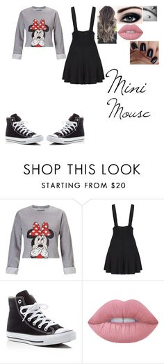 """Mini Mouse"" by skeletalmonsters ❤ liked on Polyvore featuring Miss Selfridge, Converse and Lime Crime"