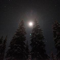 Moondog . . . #sunpeaks360 #sunpeaks #explorebc #explorecanada #ilovebc #bc #outdoors #okanagan #winter #moondog #starrynight #nightsky #stars #moonlight #moon #travel #instatravel #nighttime #forest #sky #snowshoe #moonlight