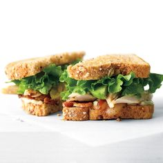 This sandwich upgrades the ordinary BLT to extraordinary by replacing tomatoes with shredded rotisserie chicken (from the supermarket) and slices of creamy avocado.