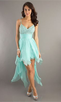 Stunning A-line V-neck Empire High Low Homecoming Dresses with Beaded