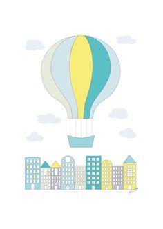 20 fine ting til barnerommet | Bo-bedre.no ©Produsenten Jubel er en ny, norsk og liten produsent av fargerike plakater og vimpelrekker for barnerommet. Plakat gul byballong, 29,7 cm x 42 cm, 199 kr, jubelshop.no