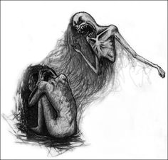 My anxiety and depression is an evil monster that always hangs over me and tutors me with pain, sadness, darkness, helpfulness, and fear. // This graphic was also popular in the eating disorder community... it's exactly how anorexia and bulimia feel.