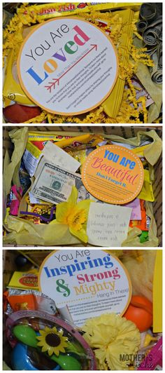 27 ideas gifts for friends going to college box of sunshine Craft Gifts, Diy Gifts, Gifts Uk, Candy Gifts, Chemo Care Package, Cancer Care Package, Diy Spring, Box Of Sunshine, Ways To Show Love