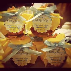 Honey party favors at a BaBee shower #babyshower #honey