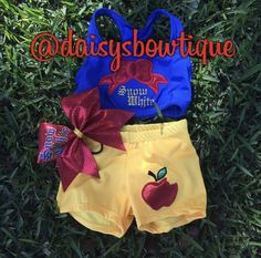 Snow white inspired set including bra shorts and bow.