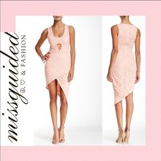"""💋Very Sexy Asymmetrical Hem Lace Sheath Dress $80 New 🔺 Retail: $80.   Only 1 left. A bandeau panel accents the plunging V-neckline of a sultry lace sheath dress styled with an asymmetrical wrap-front hem that flashes plenty of leg.  ** Cheaper on ♏️ *** - Color: Nude  - V-neck - Hidden back-zip closure - Sleeveless - Bandeau panel - Lace construction - Asymmetrical hem - Approx. 31"""" shortest length, 44"""" longest length  Fiber Content: 93% nylon, 7% elastane Care: Hand wash Missguided…"""