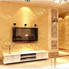 Murais de parede 3D parede ouro papel de parede europeu não - tecido papel de parede para paredes quarto flor papel de parede para quarto(China (Mainland))