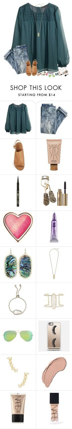 """""""It's Friday!!"""" by hopemarlee ❤ liked on Polyvore featuring H&M, J.Crew, Kate Spade, tarte, Too Faced Cosmetics, Urban Decay, Kendra Scott, Ray-Ban, Casetify and NYX"""