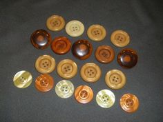 Earth Tone Vintage Plastic Buttons rust orange yellow by plarnstar