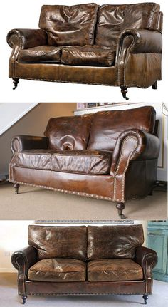 £995 1.48 wide Distressed Vintage Leather Sofa 2 Seater