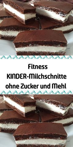 Fitness KIDS milk cuts without sugar and flour- Fitness KINDER-Milchschnitte ohne Zucker und Mehl Don& you love the children& milk cuts but the large amount of sugar in the filling? Try out this fitness variant without sugar and flour today. Chocolate Fit, Chocolate Cake Recipe Easy, Chocolate Recipes, Easy Cake Recipes, Healthy Dessert Recipes, Cookie Recipes, Brownie Recipes, Law Carb, Cookie Dough Frosting