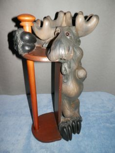 Bearfoots Moose Paper Towel Holder by Phyllis Driscoll of Big Sky Carvers