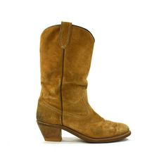 Vintage 1970s Suede Cowboy Boots / W 10