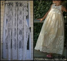 Vintage lace curtain into a girls maxi dress.  Perfect for a wedding, church, or dress up.  Well, hey, if it worked for Scarlet O'Hara....
