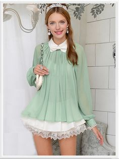 Morpheus Boutique  - Green Chiffon Long Sleeve Celebrity Bow Shirt, CA$61.53 (http://www.morpheusboutique.com/green-chiffon-long-sleeve-celebrity-bow-shirt/)