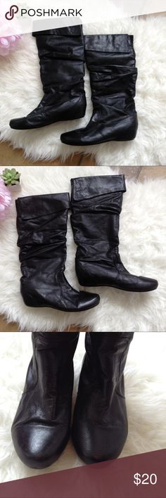 Steve Madden Black Slouchy Boots Very cute black boots! There is a little wear around the heel (see photo). There are also some cracks and a few small missing pieces from wear under the flaps at the top of the boots (as shown in the last 2 photos), but this is not visible when worn with the flaps down. Soles are in good condition. Steve Madden Shoes Winter & Rain Boots