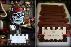 Canon Balls and Walk the Plank chocolate bars @kissmekate http://www.prettymyparty.com/pirate-themed-birthday/