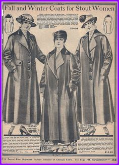 fall and winter coats for stout women 1916, Sears